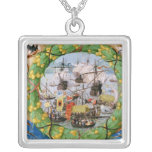 Festival of the Portuguese Fleet Square Pendant Necklace