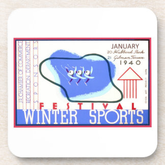 Festival of Winter Sports WPA Poster Drink Coaster