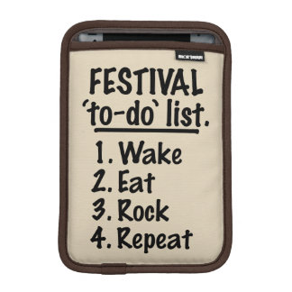 Festival 'to-do' list (blk) iPad mini sleeve
