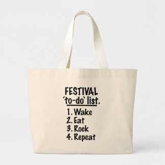 Festival 'to-do' list (blk) large tote bag