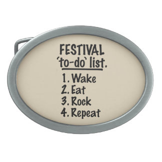 Festival 'to-do' list (blk) oval belt buckle