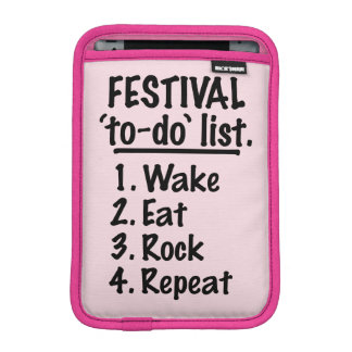 Festival 'to-do' list (blk) sleeve for iPad mini