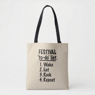 Festival 'to-do' list (blk) tote bag