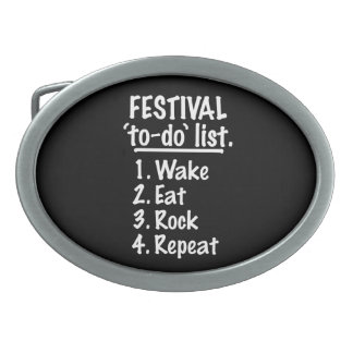 Festival 'to-do' list (wht) oval belt buckle