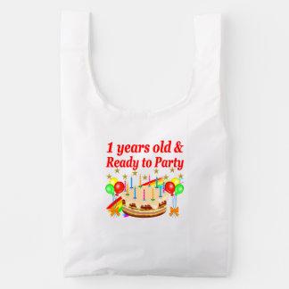FESTIVE 1ST BIRTHDAY PARTY DESIGN REUSABLE BAG