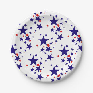 Festive 4th of July Party Stars Red White Blue Paper Plate