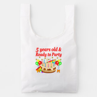 FESTIVE 5TH BIRTHDAY AND 5 YEAR OLD DESIGN REUSABLE BAG