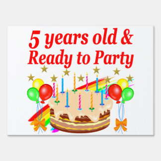 FESTIVE 5TH BIRTHDAY AND 5 YEAR OLD DESIGN SIGN