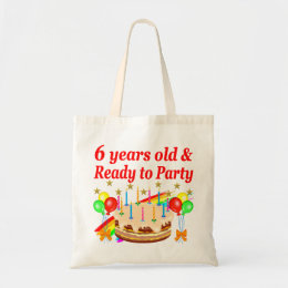 FESTIVE 6 YEARS OLD READY TO PARTY BIRTHDAY DESIGN TOTE BAG