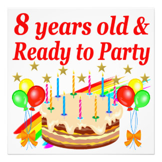 FESTIVE 8 YRS OLD AND READY TO PARTY BIRTHDAY CAKE PHOTO PRINT