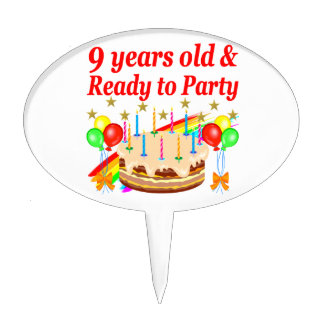 FESTIVE 9 YEARS OLD AND READY TO PARTY BIRTHDAY CAKE TOPPER