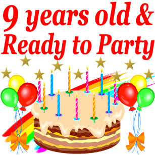 FESTIVE 9 YEARS OLD AND READY TO PARTY BIRTHDAY CARD