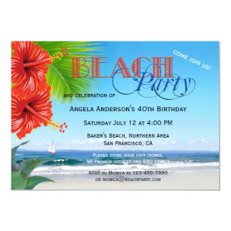 adult beach party invitations & announcements | zazzle, Party invitations