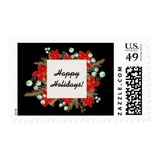 Festive and Elegant Hand Drawn Holiday Party Black Stamp