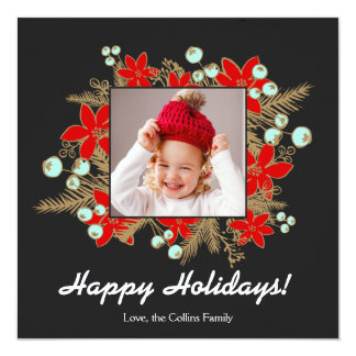 Festive and Elegant Red Poinsettias Photocard Card