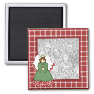 Festive Angel on Red Plaid Photo Frame Magnet
