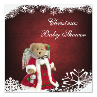 Festive Angel Teddy Bear Christmas Baby Shower Card