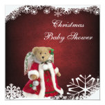 Festive Angel Teddy Bear Christmas Baby Shower 5.25x5.25 Square Paper Invitation Card