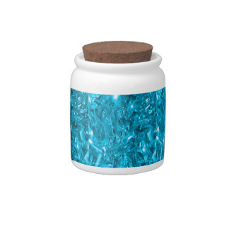 Festive Aqua Blue Foil Candy Jar