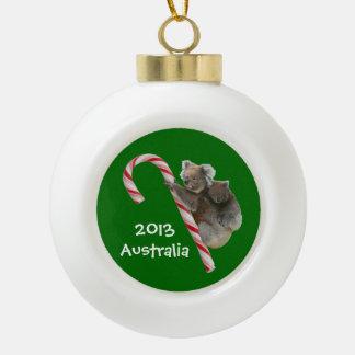 Festive Australian Koala Bears on Candy Cane Ceramic Ball Christmas Ornament