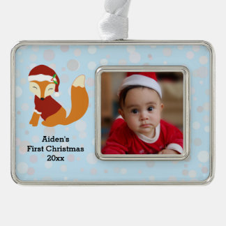 Festive Baby Fox First Christmas Holiday Ornament