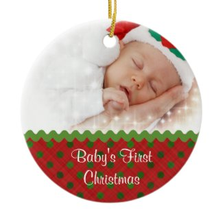 Festive Baby's First Christmas Photo Ornament