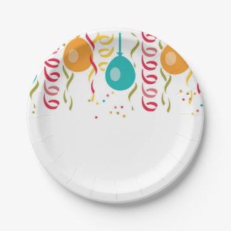 Festive Balloons and Streamers Paper Plate