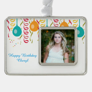 Festive Balloons and Streamers Photo Silver Plated Framed Ornament
