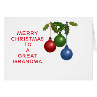 Festive Baubles Great Grandma Greeting Cards