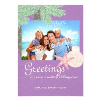 Festive Beach Holiday Flat Card Photo Greeting