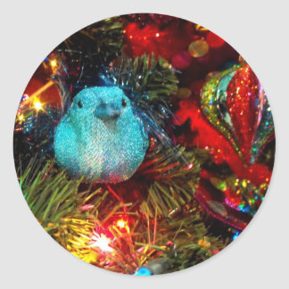 Festive Bird Classic Round Sticker