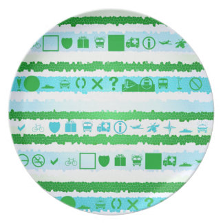 Festive Blue and Green Stripes Abstract Party Plate