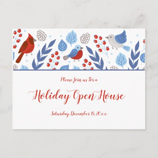 Festive Blue and Red Holiday Open House Postcard
