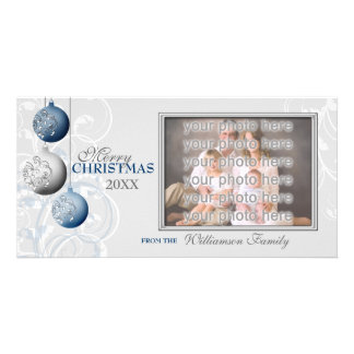 Festive Blue and Silver Christmas Card