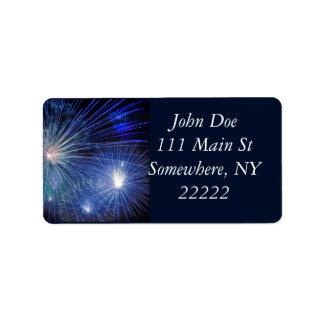 Festive Blue Fireworks Label