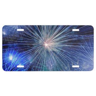 Festive Blue Fireworks License Plate