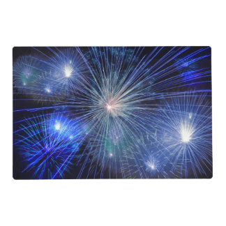 Festive Blue Fireworks Laminated Place Mat