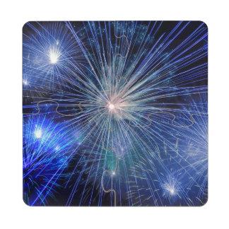 Festive Blue Fireworks Puzzle Coaster
