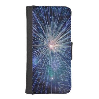 Festive Blue Fireworks Phone Wallets