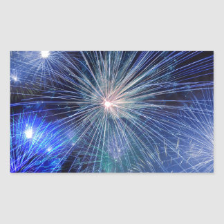 Festive Blue Fireworks Rectangular Sticker