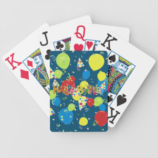 Festive Blue Happy Birthday Bicycle Playing Cards