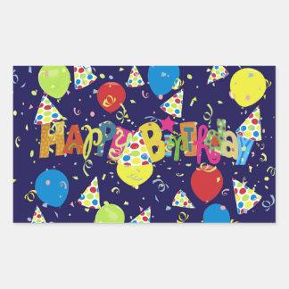 Festive Blue Happy Birthday Rectangular Sticker