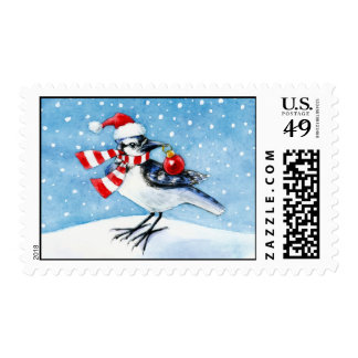 Festive Blue Jay Postage Stamp