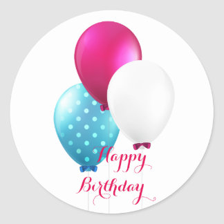 Festive Blue Pink & White Balloons Happy Birthday Classic Round Sticker