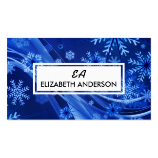 Festive Blue Snowflake Winter Business Cards