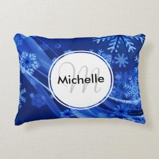 Festive Blue Snowflake Winter Paradise Accent Pillow