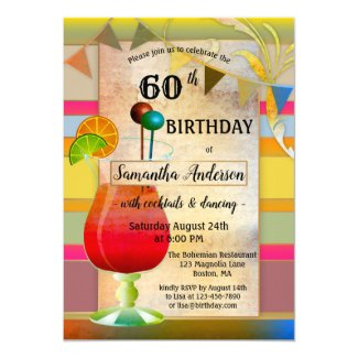 Festive Bohemian Cocktail Birthday Invitation