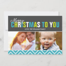 Festive Bold Colorful Letters Christmas Photo Holiday Card