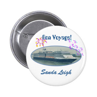 Festive Bon Voyage Name Badge White Button