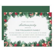 Festive Botanical Border Christmas Party Card